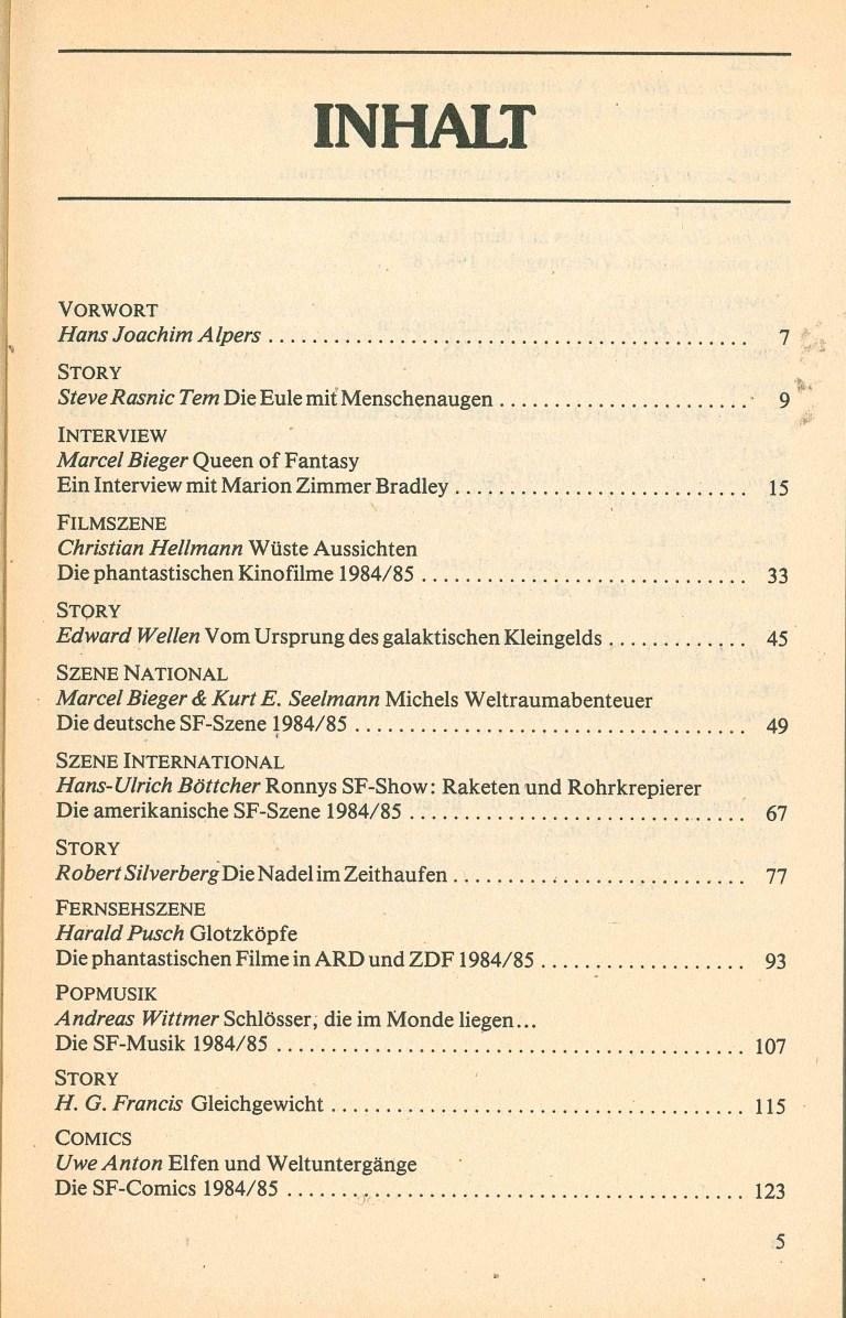 Science Fiction Jahrbuch 1986 - Inhalt Seite 1