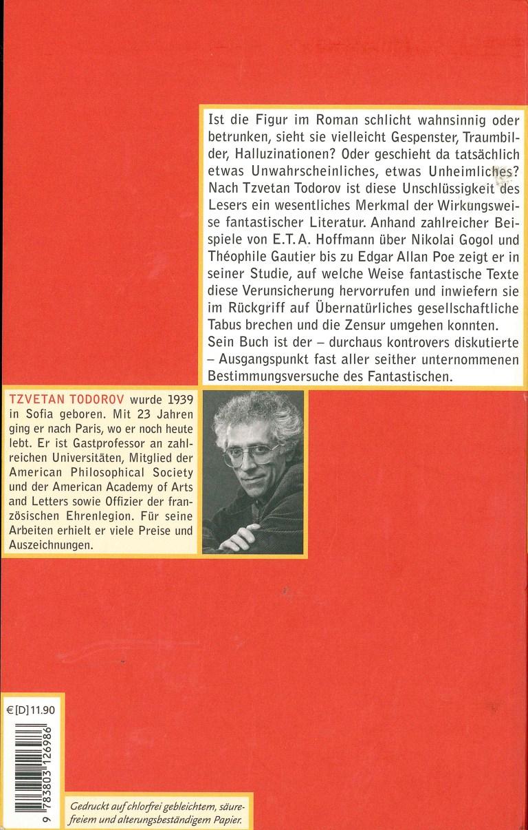 Einführunh in die fantastische Literatur, Wagenbach - Rückencover