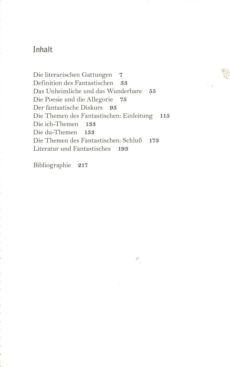 Einführung in die fantastische Literatur, Wagenbach - Inhalt