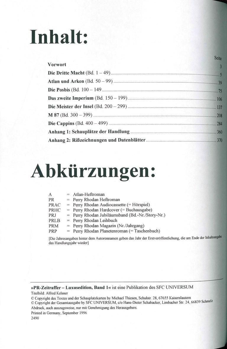 Perry Rhodan-Zeitraffer, Band 1, Luxusausgabe - Impressum und Inhalt