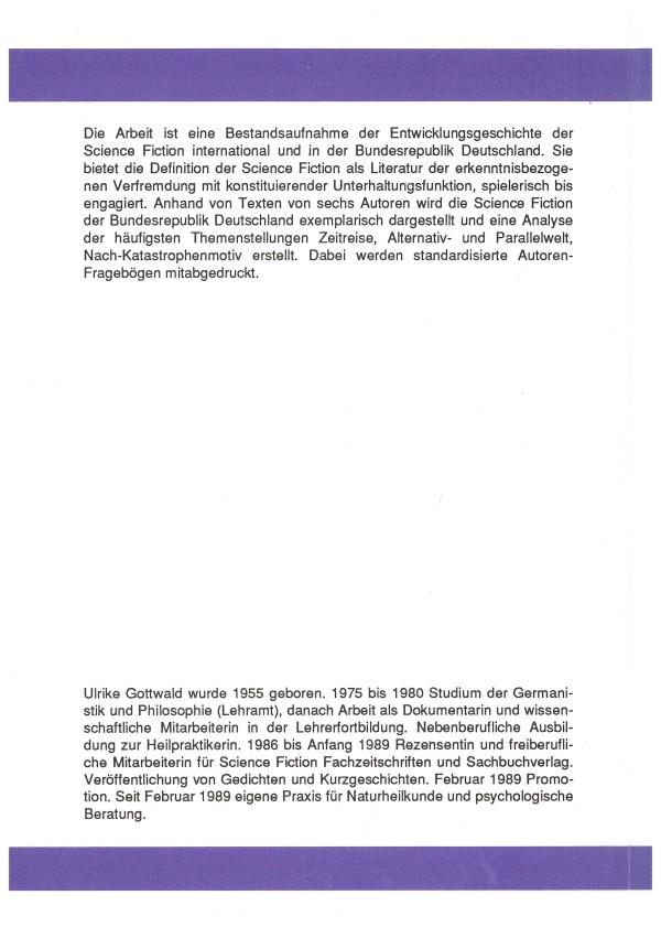 SF als Literatur in der BRD der 70er und 80er Jahre - Rückencover