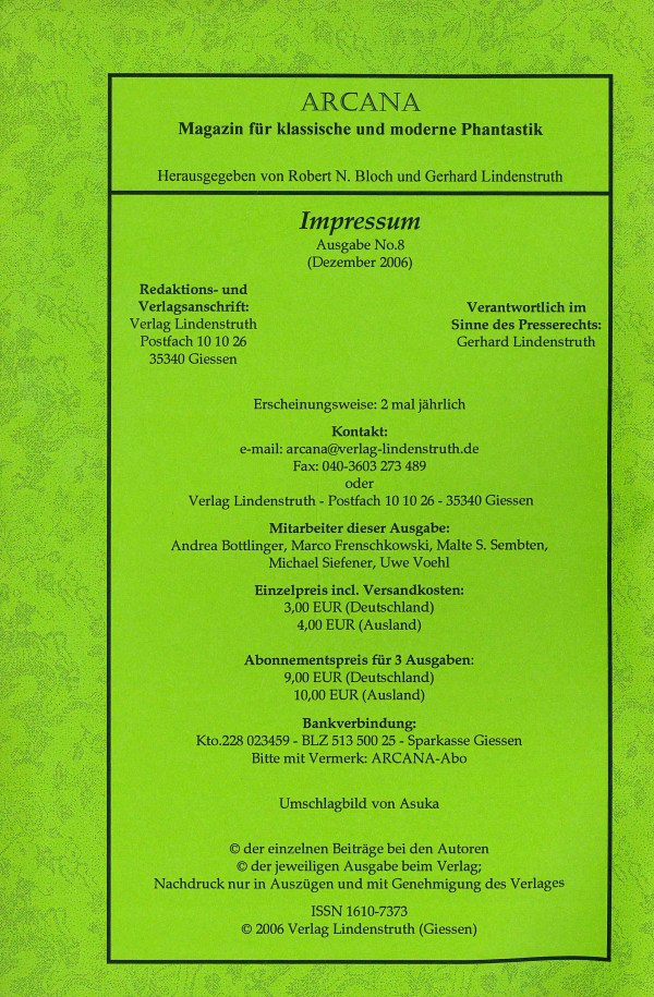 Arcana, Nr. 8, Dez 2006 - Impressum