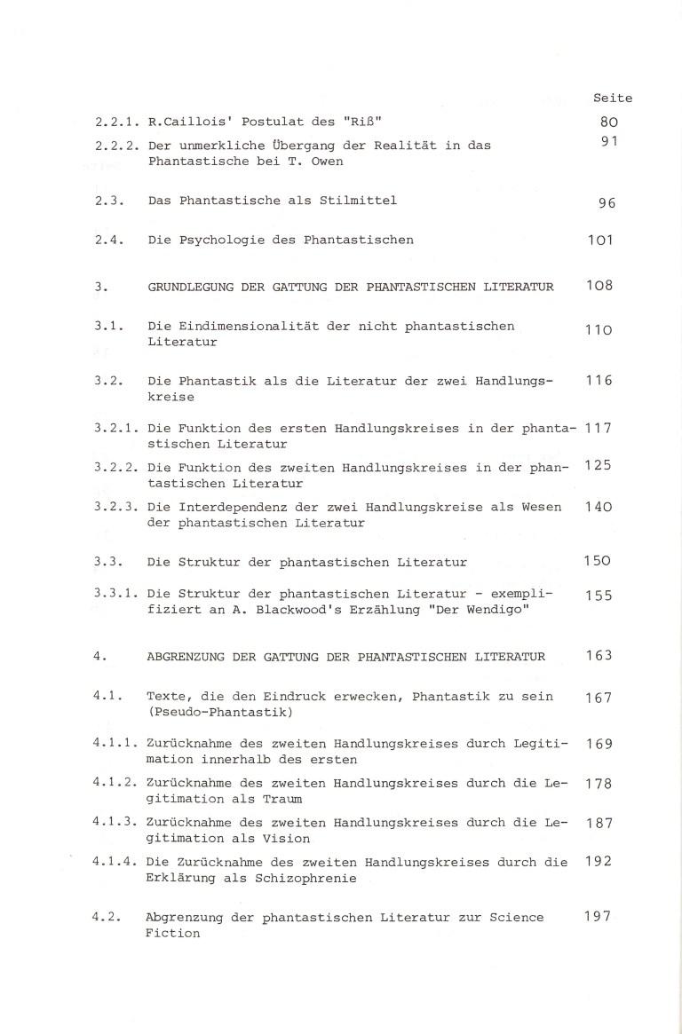 Die phantastische Literatur - Inhalt Seite 2