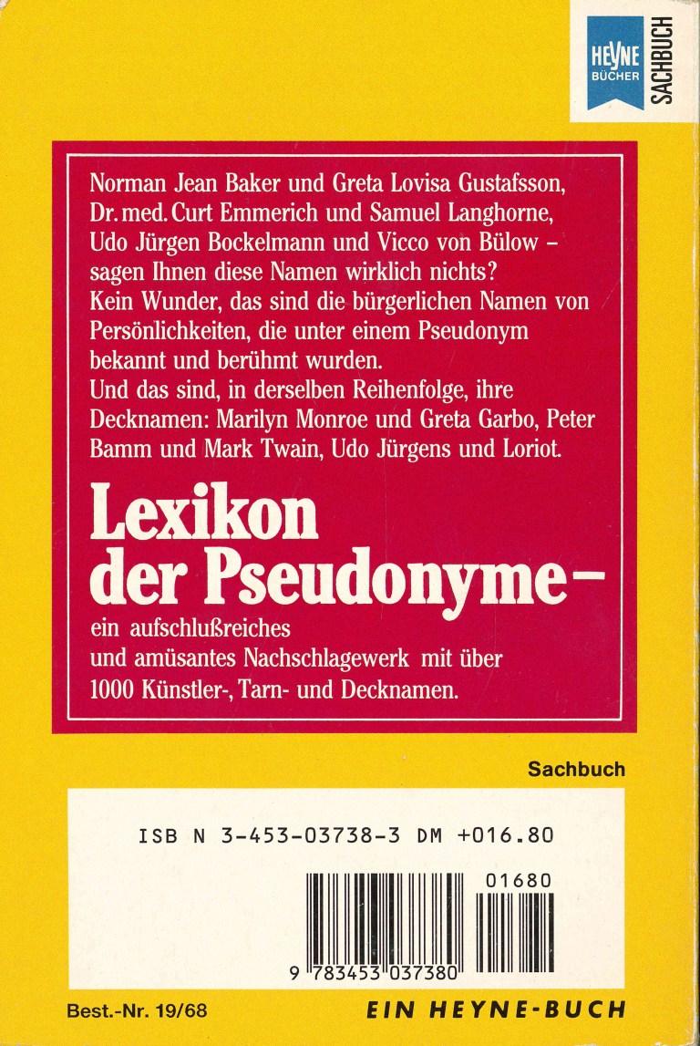 Lexikon der Pseudonyme - Rückencover