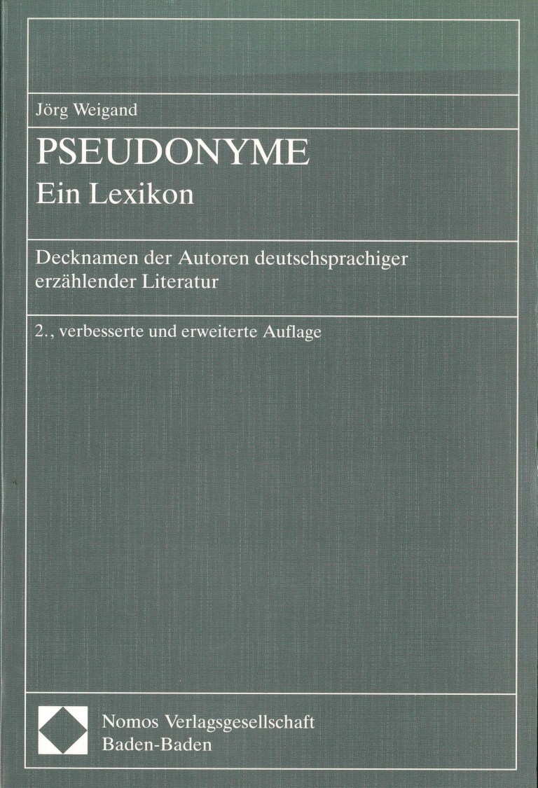 Pseudonyme, 2. Aufl. - Titelcover