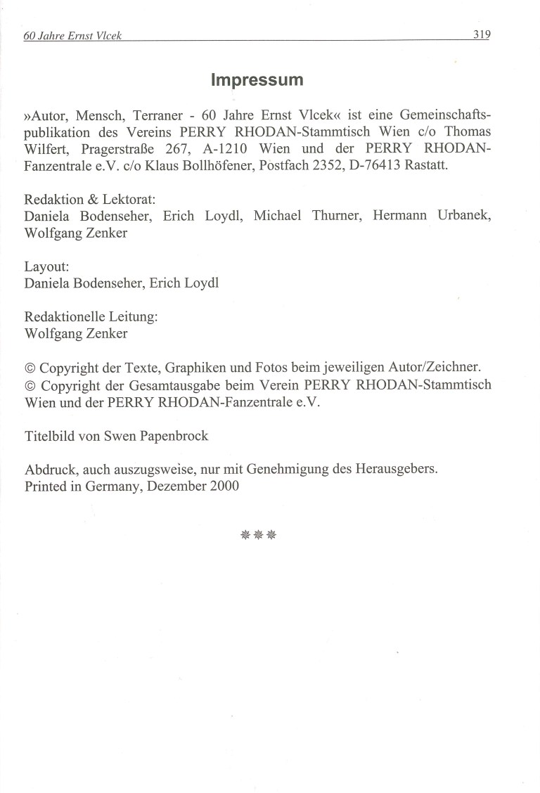 Autor, Mensch, Terraner - Impressum
