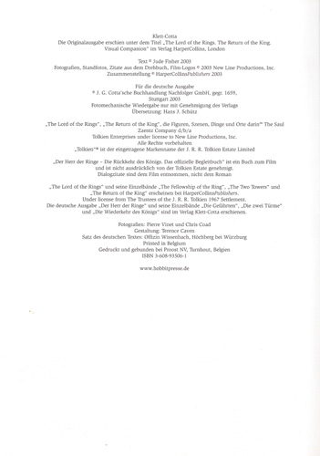 HDR-Das offizielle Begleitbuch-Die Rückkehr des Königs - Impressum