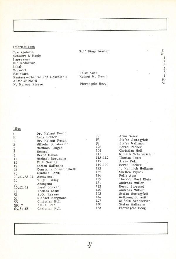 Fantasia, Nr. 17 - Inhalt Seite 2