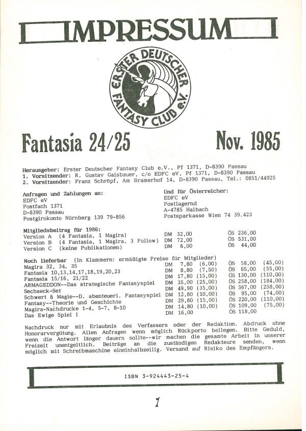 Fantasia, Nr. 24-25 - Impressum