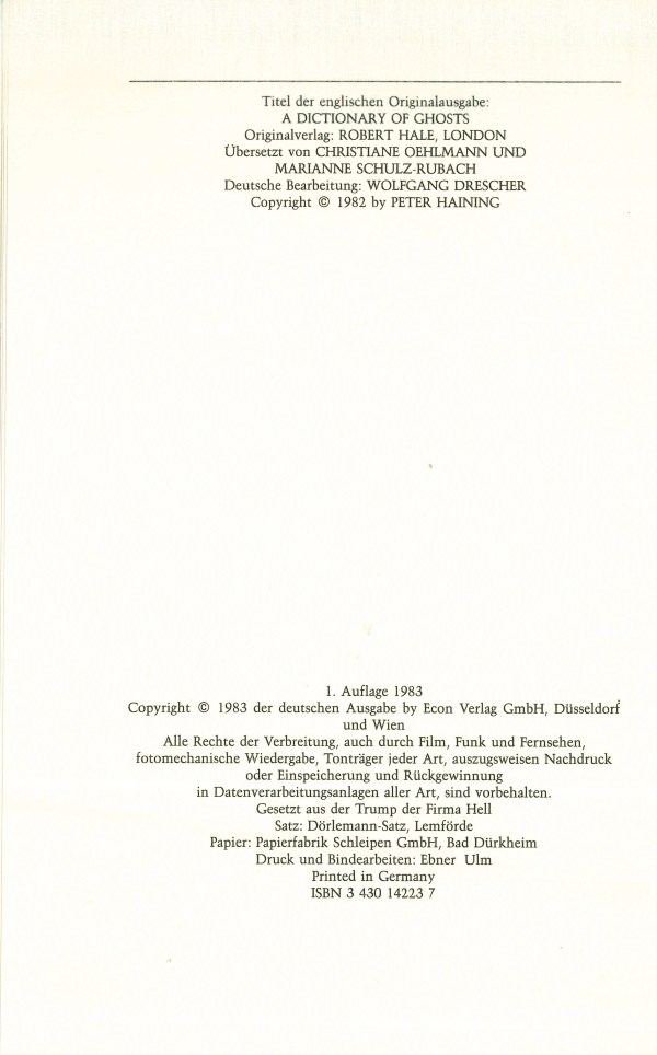 Das grosse Gespensterlexikon - Impressum