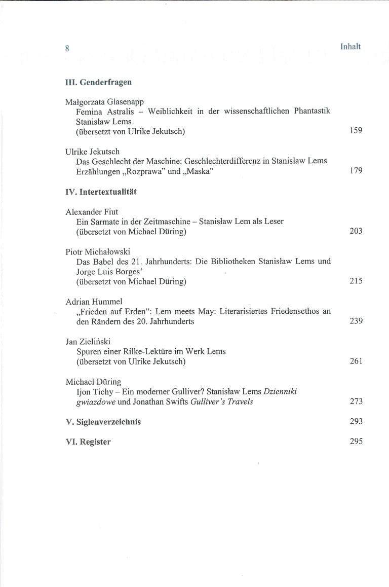 Stanislaw Lem-Mensch, Denker, Schriftsteller - Inhalt Seite 2