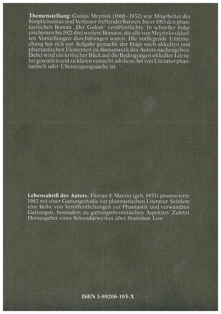 Okkultismus und Phantastik - Rückencover