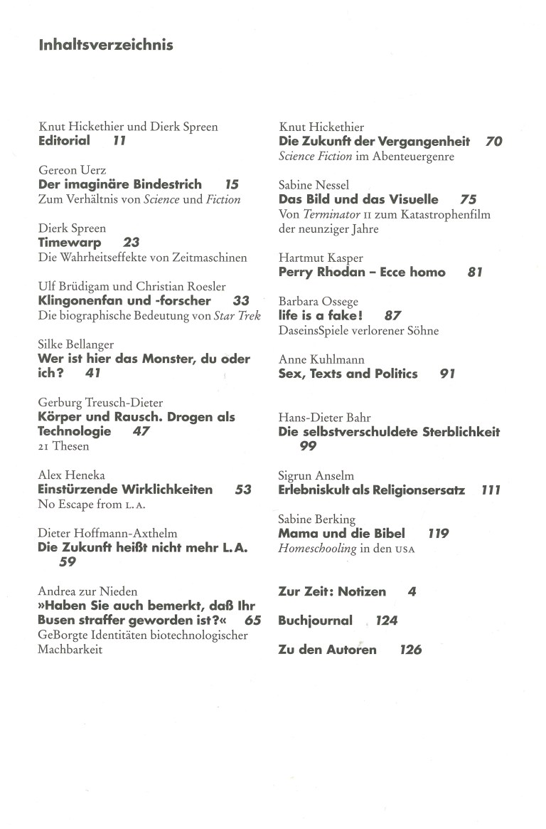 Ästhetik und Kommunikation, Nr. 104 - Inhalt