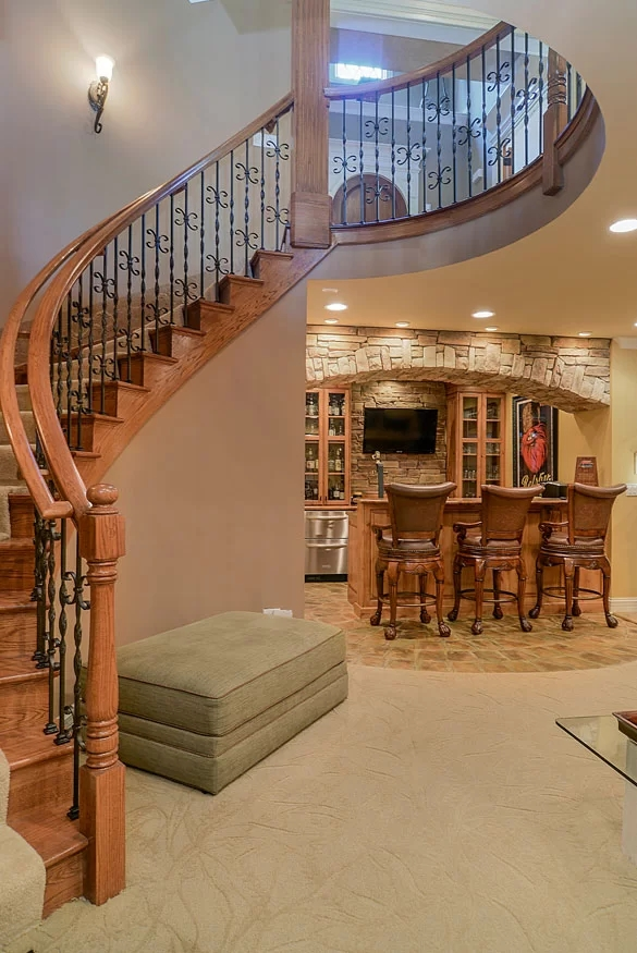 95 Ingenious Stairway Design Ideas For Your Staircase Remodel   Dual Staircase House Plans   Colonial   Design   Upstairs Master Suite House   Luxury Library 5 Bed House   Medium Size