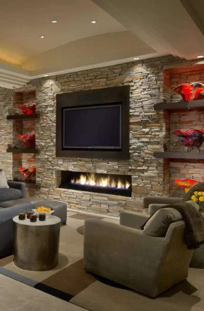 41 stacked stone fireplace ideas