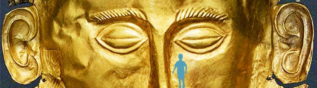 Masque en or d'Agamemnon illustrant l'individu par excès