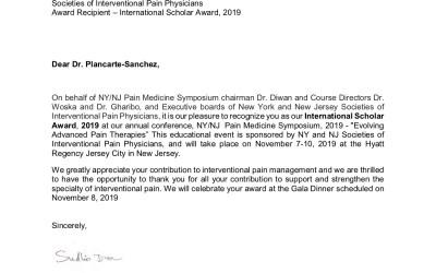Felicitamos al Dr. Ricardo Plancarte Sánchez por su reconocimiento y premio International Scholar Award 2019
