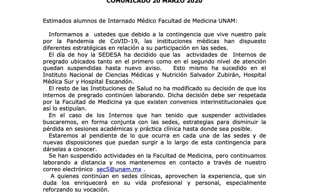 Comunicado de la SECISS a los alumnos de Internado Médico (20-3-2020)