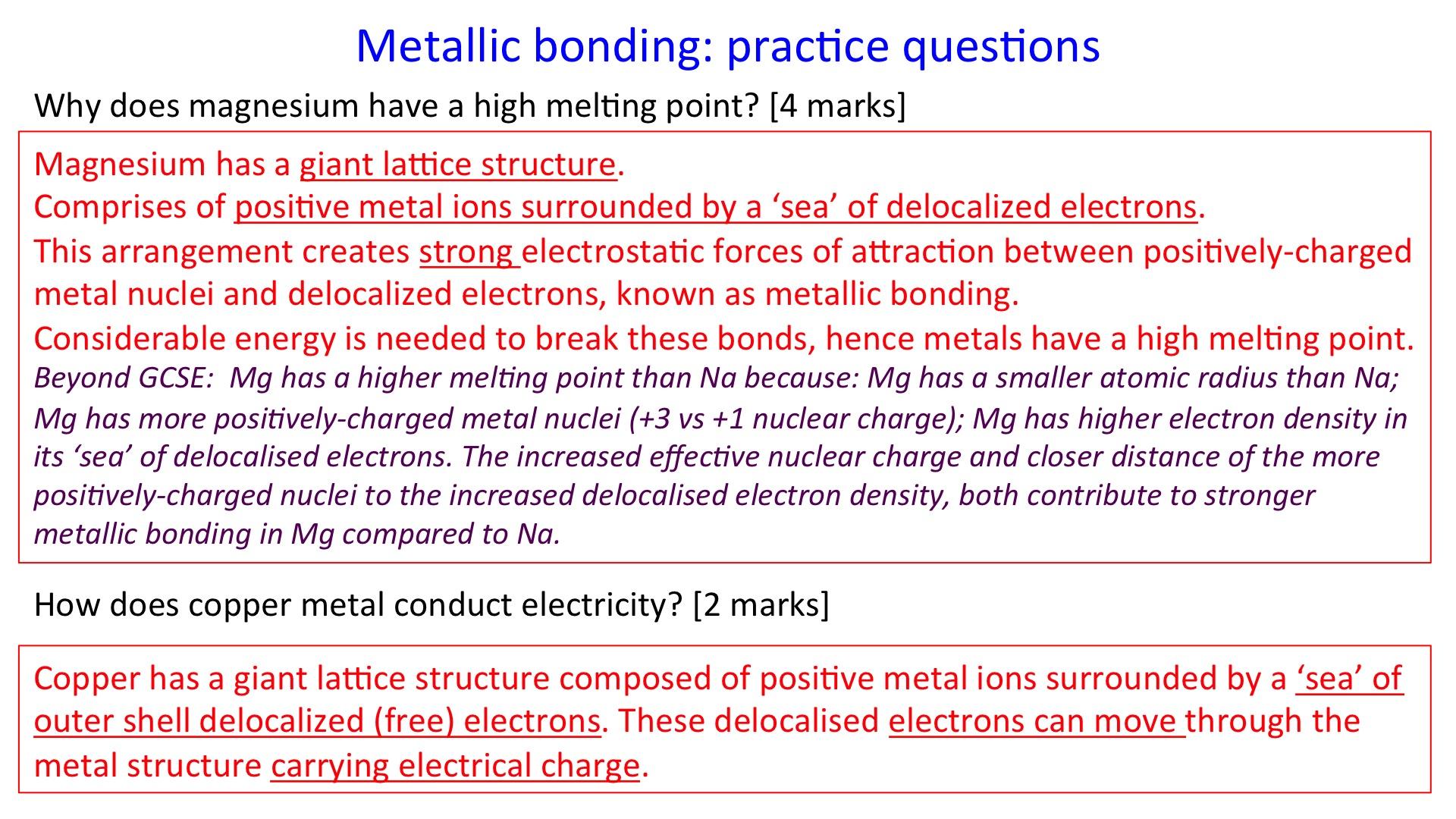 Metallic Structure And Bonding