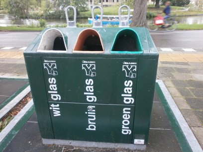 glass recycling bin in the Netherlands
