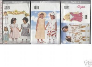 GIRLS DRESS sz5-6x SEWING PATTERN x3 PANTALOONS SUN HAT
