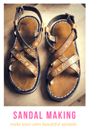 tooled leather sandals
