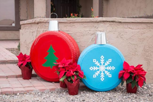Коледни играчки от автомобилни гуми