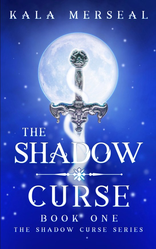 Book cover of The Shadow Curse: blue with a sword in front of a moon.