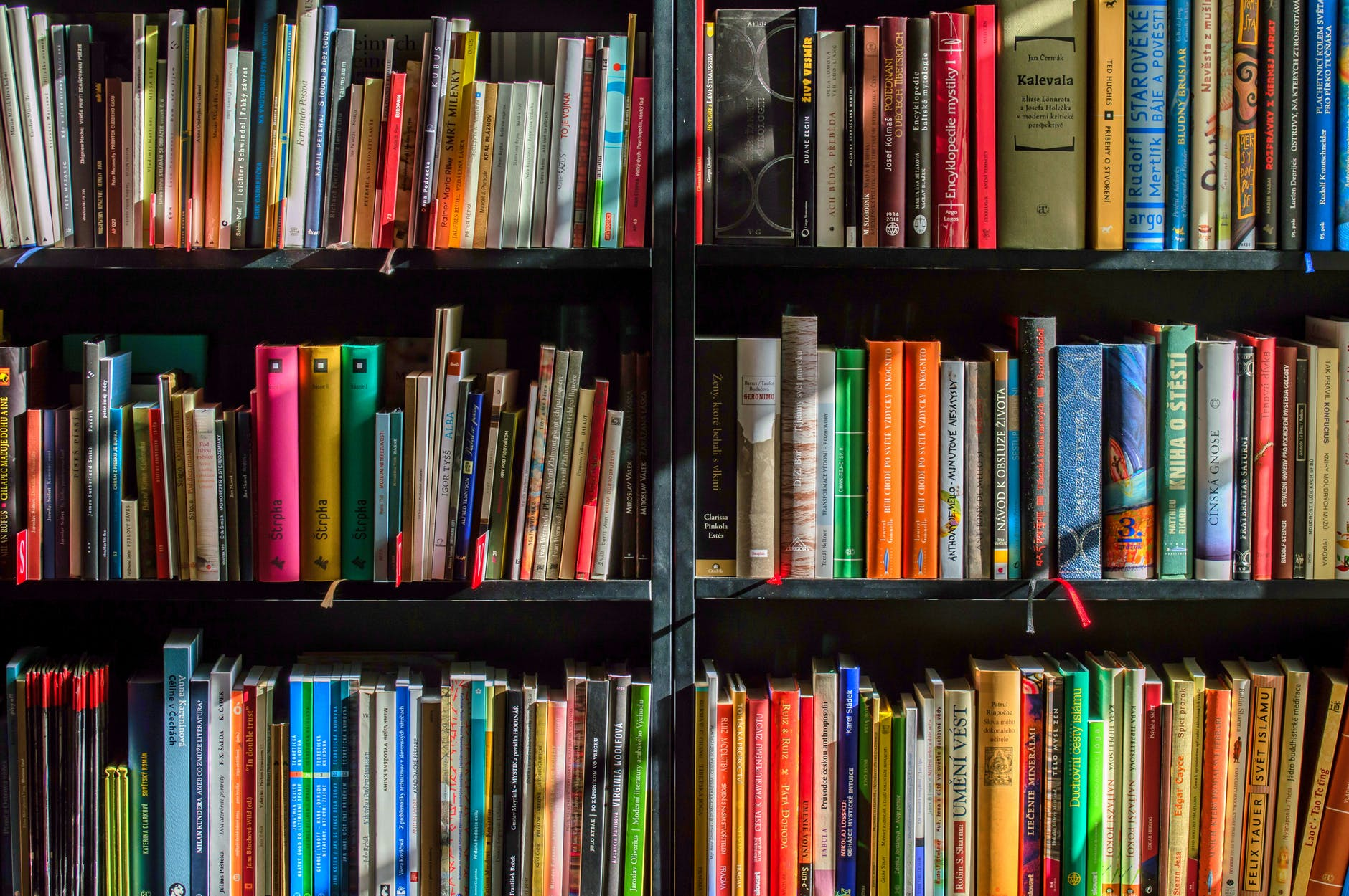 a bookshelf full of colorful books. One must be a favorite...