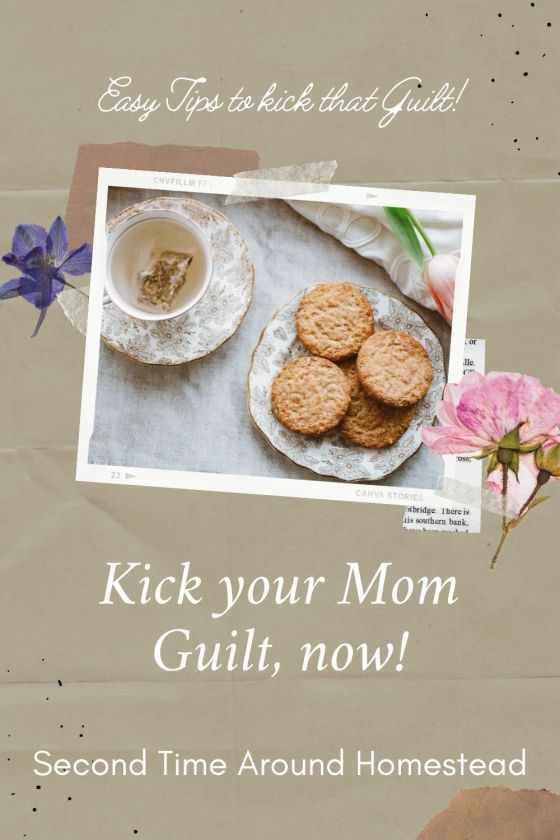 """TRay with tea and cookies with teh text """"Kick your Mom Guilt, now!"""