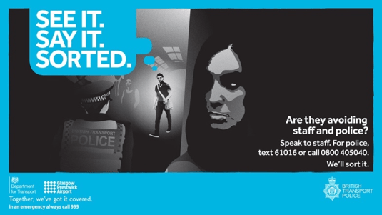 'See It, Say It, Sorted' campaign poster. Source: Glasgow Prestwick Airport (2020) Social Media Image See It, Say It, Sorted. Available at:  https://www.glasgowprestwick.com/5883-2/social-media-image-see-it-say-it-sorted/(Accessed 19/03/2020).
