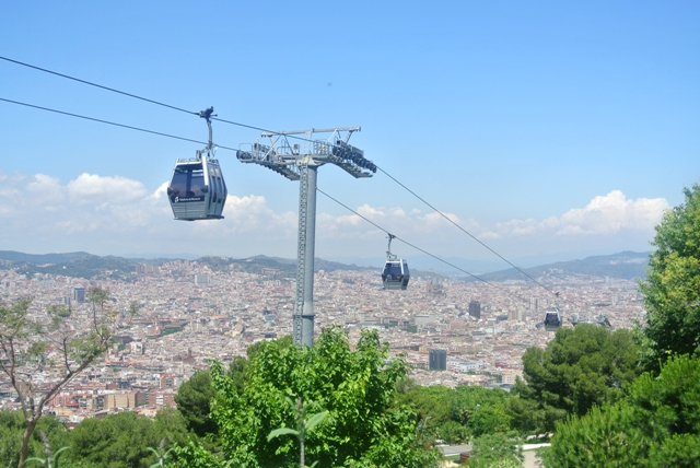 cable car and view over Barcelona