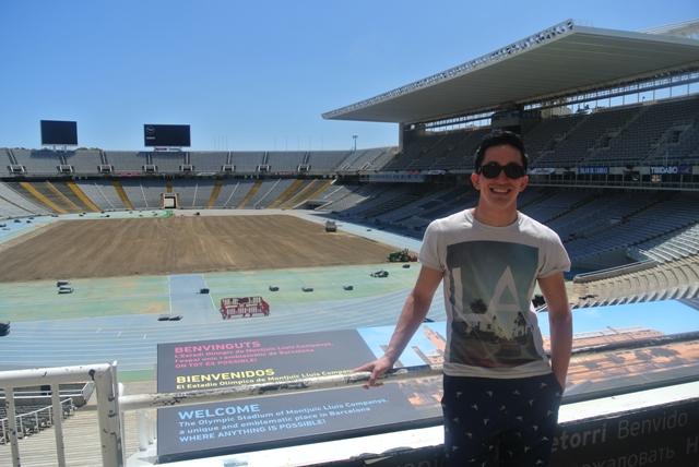 Inside the Olympic stadium in Barcelona