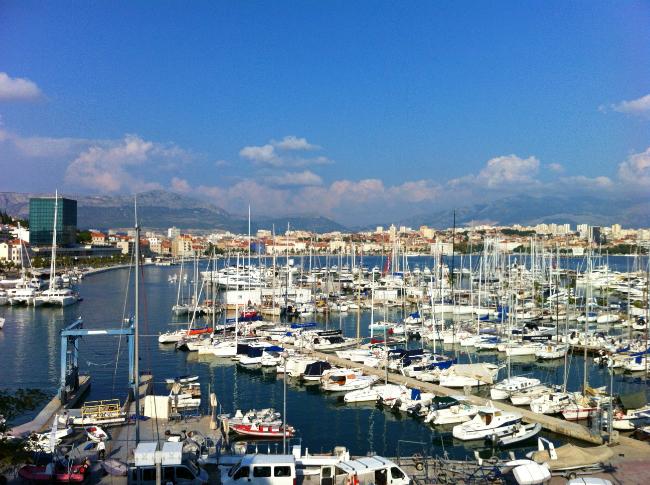 view over harbour in split
