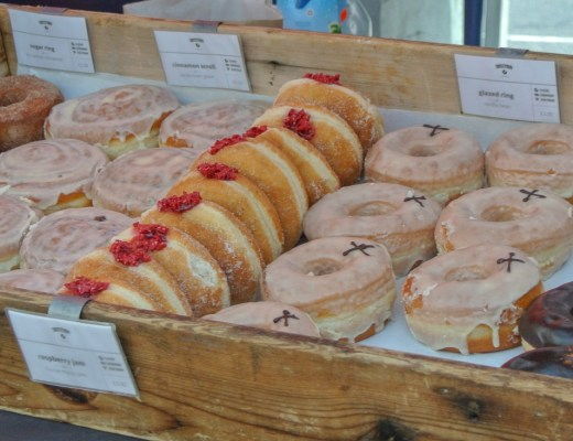 Donuts stall in Broadway Market London