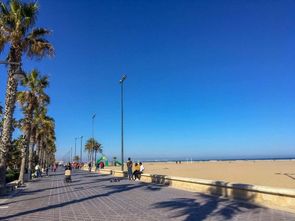 Beach promenade in Valencia