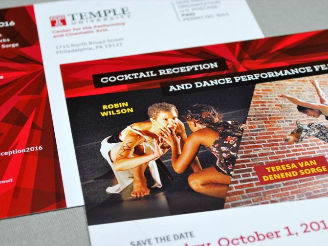 Temple University Dance Reception Postcard