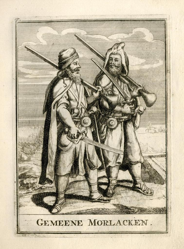 Morlach soldiers of the 17th century in the old graphic