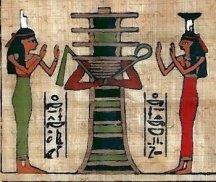 Isis și Nephthys lângă djed-ul lui Osiris