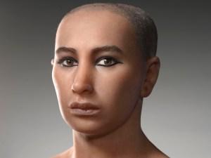 Reconstituire a feței lui Tutankhamun în urma scanării mumiei lui.