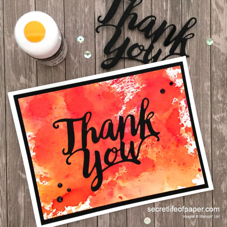 Stampin Up Pigment Sprinkles Thank You Die Poppy