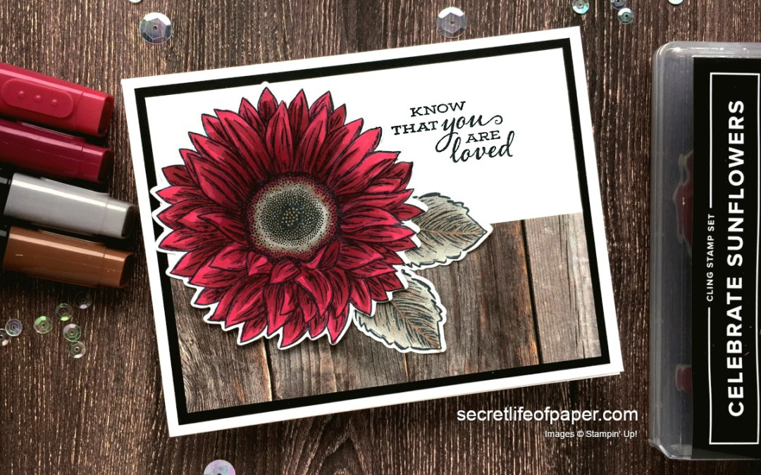 Stampin' Up! Celebrate Sunflowers in Cherry Cobbler