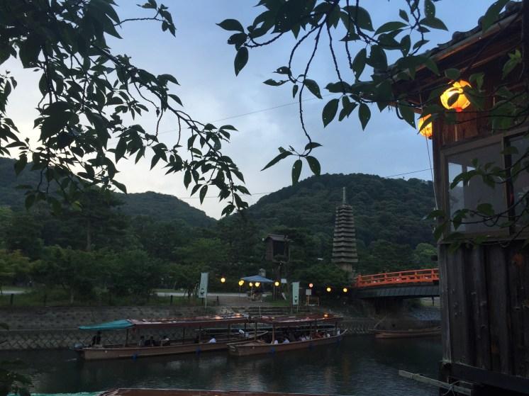 Uji River at night