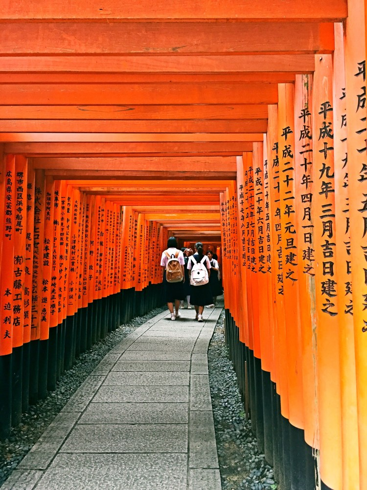 School kids walking through the gates - Kyoto 1 Day Itinerary