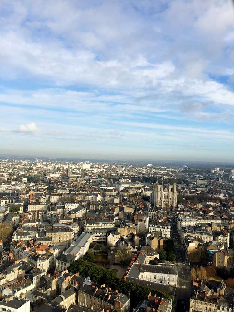 Aerial view of the city centre from Le Nid - things to do in Nantes