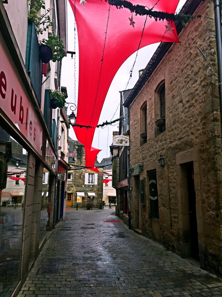 Auray town with red decorations - Auray Brittany