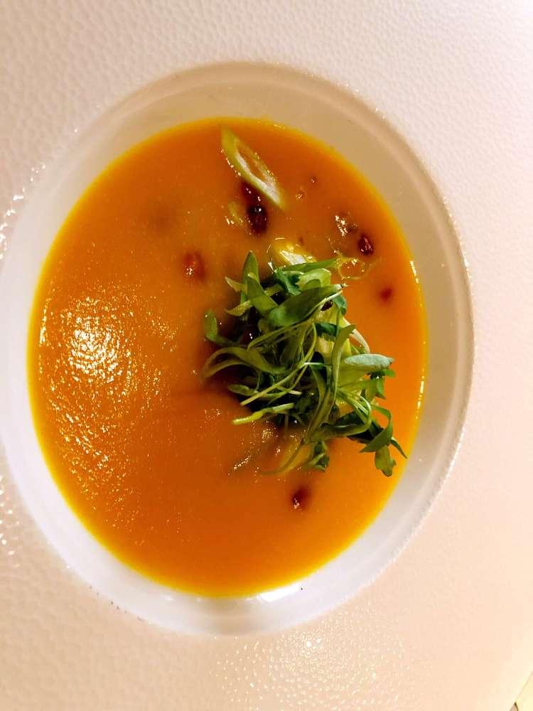 Roasted pumpkin soup at Ting, Shard - Ting Shard