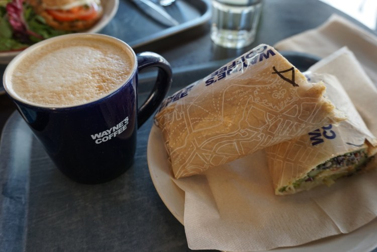 Chicken and Avocado wrap at Wayne's Coffee - a day in Stockholm