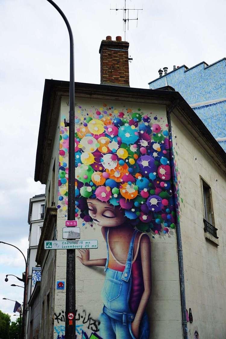 Afro girl graffiti - Canal saint martin