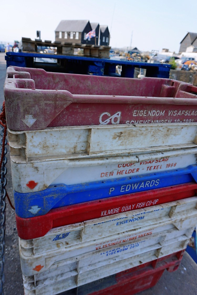 Whitstable Harbour , fishing crates - Whitstable day trip seaside town things to do